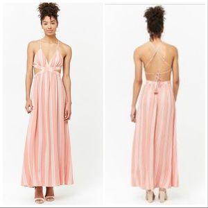 Striped Cutout Maxi Dress